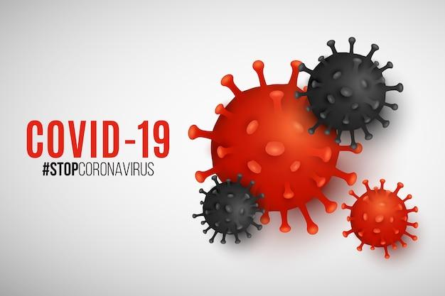 Organismo patogeno coronavirus per banner scientifico. malattia infettiva epidemica covid-19. infezione cellulare. modello di virus realistico per il tuo progetto medico.