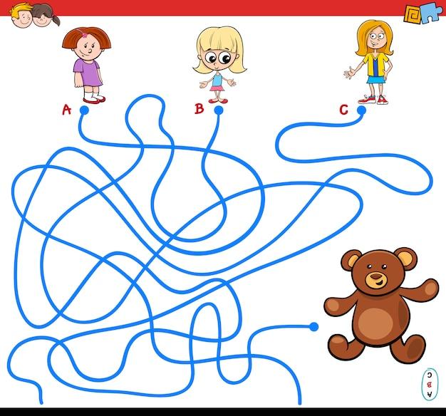 Percorsi gioco labirinto con ragazze e orsacchiotto