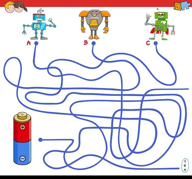 Percorsi gioco labirinto con robot e batteria Vettore Premium