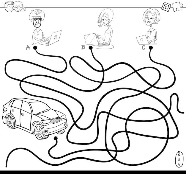 Percorsi labirinti con persone e libro da colorare auto
