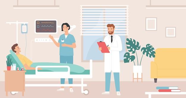 Paziente a letto nel reparto ospedaliero, medico e infermiere forniscono assistenza medica
