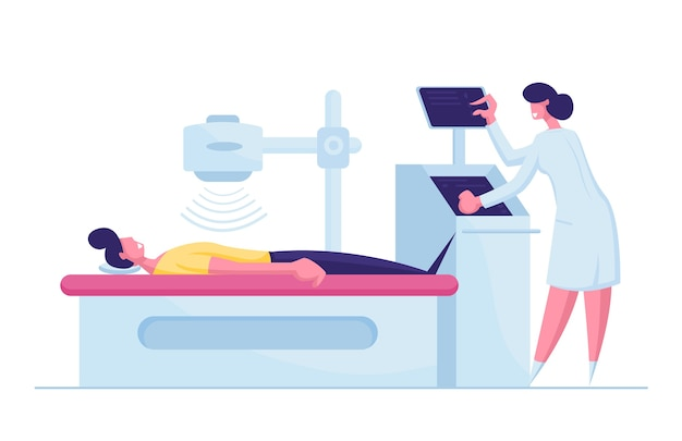 Carattere paziente sdraiato sui raggi x o sulla macchina per la risonanza magnetica con l'infermiera