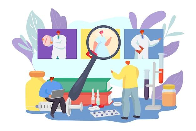 Il paziente sceglie il carattere dell'uomo piatto dell'illustrazione di vettore del medico medico guarda le specifiche del medico ospedaliero...