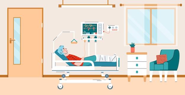 Paziente collegato all'attrezzatura nell'illustrazione vettoriale del fumetto del reparto ospedaliero