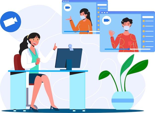Consultazione del paziente al medico tramite videochiamata illustrazione piana del concetto dell'illustrazione di consultazione sanitaria online del medico