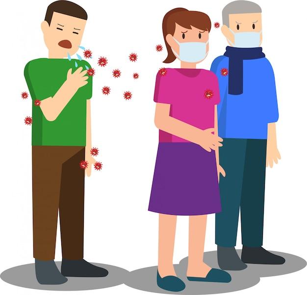Paziente del virus corona che diffonde il virus tossendo ad altre persone sane