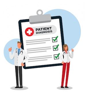 Diagnosi del paziente tutto ok. medico maschio e femmina che si congratula.
