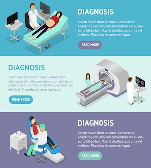 Vista isometrica appuntamento medico e paziente. diagnostica ultrasuoni e mrt specialista nell'interno del gabinetto dell'illustrazione vettoriale della clinica