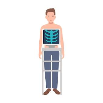 Paziente durante la procedura medica di presa della radiografia del torace isolata su fondo bianco. giovane che sta dentro la macchina di raggi x e l'immagine della sua gabbia toracica sul monitor. illustrazione di cartone animato