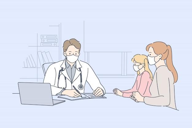 Paziente, esame, medicina, coronavirus, concetto di assistenza sanitaria.