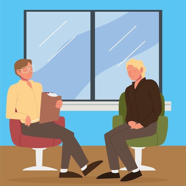 Paziente in clinica psicologica, consulenza e conversazione