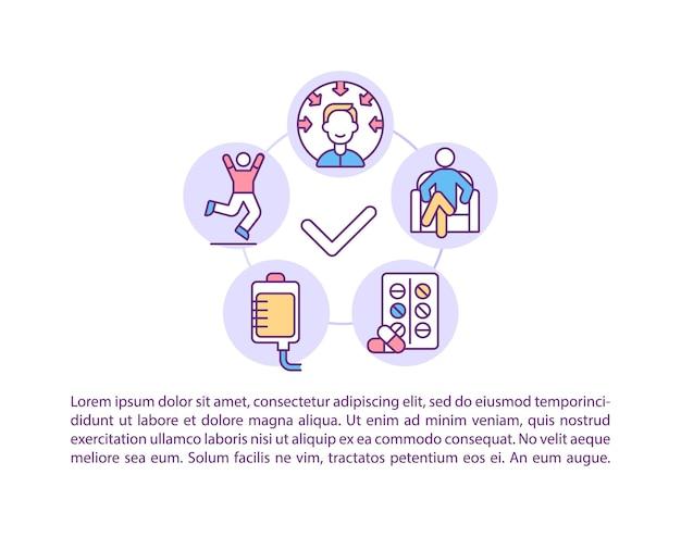 Icone della linea del concetto di stabilizzazione del paziente con testo