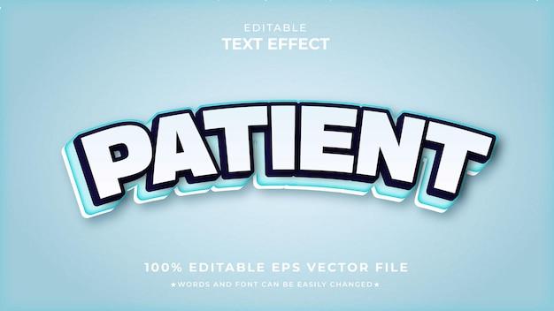 Vettore di effetto testo modificabile bianco paziente premium