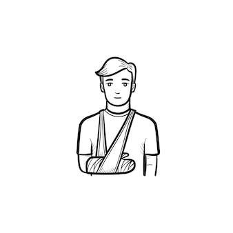 Paziente con icona di doodle di contorno disegnato a mano del braccio rotto. paziente maschio in piedi con bendaggio al braccio. concetto di traumatologia