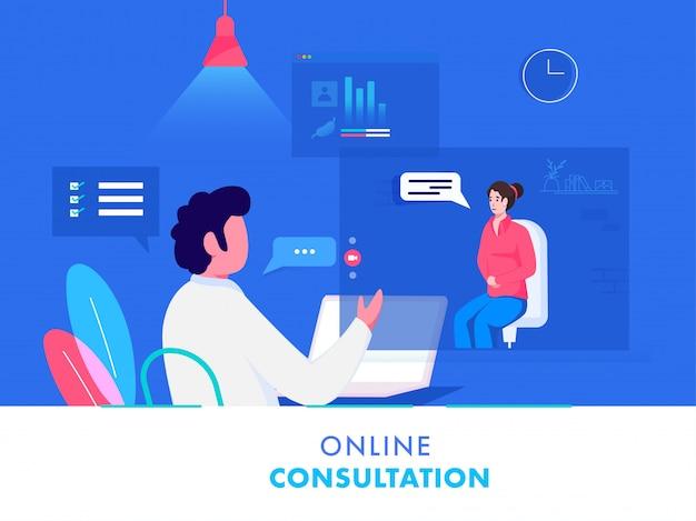 Donna paziente che ha video chiamata al dottore from laptop su fondo blu e bianco per consultazione online.