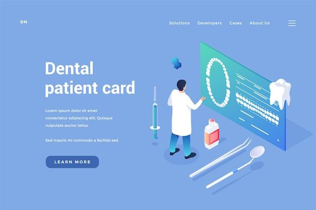 Carta di odontoiatria dei pazienti il dentista esamina i tomogrammi dentali dei clienti sul documento sanitario online