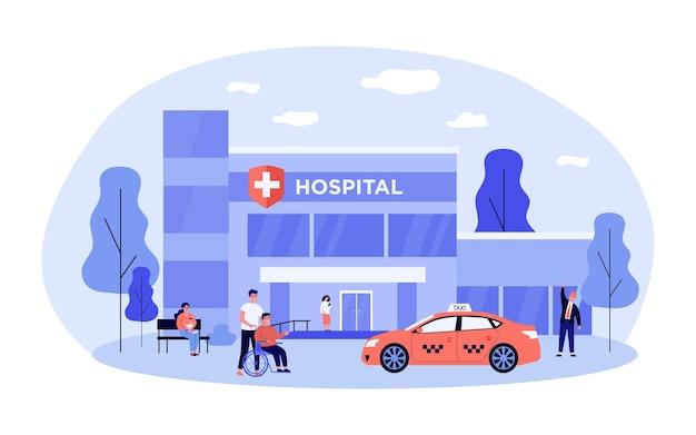 Pazienti, infermiere, visitatori e taxi davanti all'ospedale. sedia a rotelle, bambino, illustrazione vettoriale piatto auto