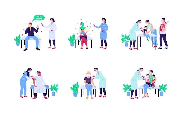 Pazienti che ricevono un set piatto di vaccino. antivax, niente droga. visita medica. collezione di cartoni animati isolati per l'assistenza sanitaria