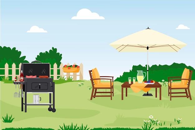 Illustrazione vettoriale piatta dell'area del patio cortile della casa cortile arredato all'aperto per feste estive barbecue