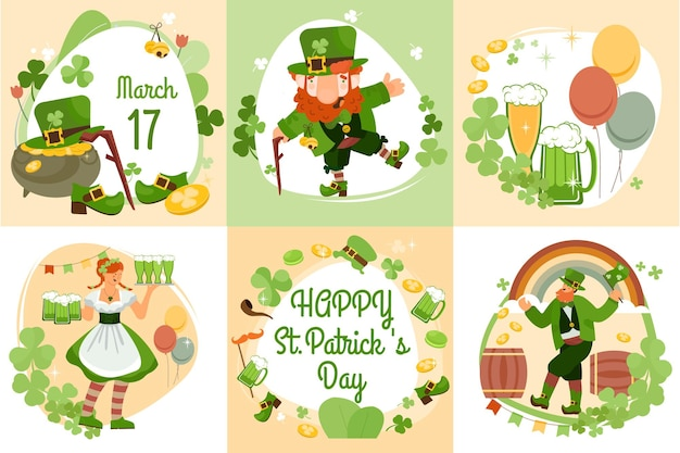 Patrick day set di sei composizioni piatte con fiori di trifoglio simboli della nazione irlandese e illustrazione di testo modificabile