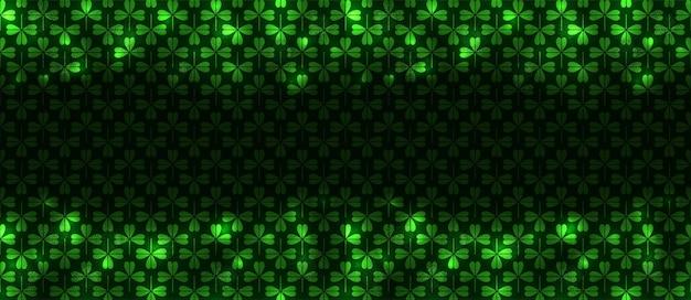 Patrick night pattern senza giunture, ottimo design per qualsiasi scopo. fondo astratto al neon irlandese di festa. confine senza soluzione di continuità. sfondo effetto luce bagliore. festa delle vacanze verdi irlandesi.