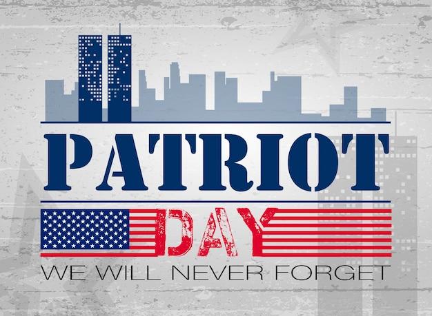 Patriot day bandiera americana sfondo illustrazione vettoriale 11 settembre