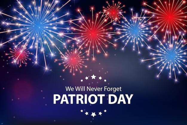Sfondo del giorno del patriota. manifesto dell'11 settembre. non lo dimenticheremo mai. illustrazione vettoriale eps10