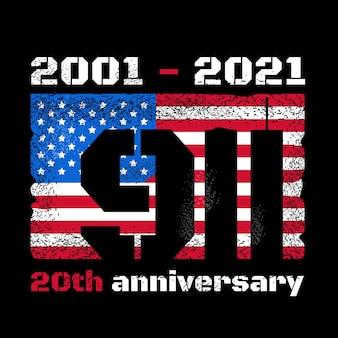 Patriot day design con bandiera americana e skyline delle torri gemelle del new york world trade center. disegno di illustrazione vettoriale. ricorda il concetto di attacco del 911, 11 settembre