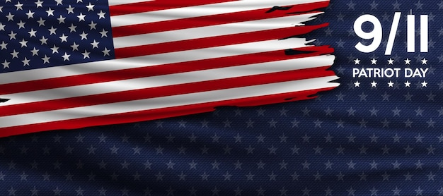 Patriot day 11 settembre non dimenticheremo mai il poster della bandiera degli stati uniti bandiera americana strappata