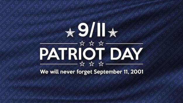 Patriot day 11 settembre non dimenticheremo mai il poster degli stati uniti per il patriot day Vettore Premium