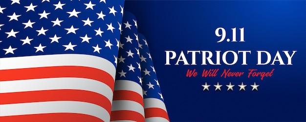 Patriot day usa non dimenticare mai il design 9.11 modello di banner illustrazione