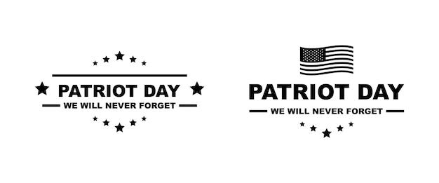 Marchio di vettore di giorno del patriota. 11 settembre. usa patriot day illustrazione isolata.