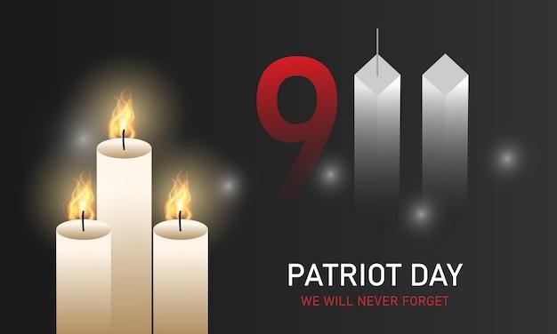 Patriot day, non lo dimenticheremo mai. torri. 11 settembre. bandiera degli stati uniti. illustrazione vettoriale