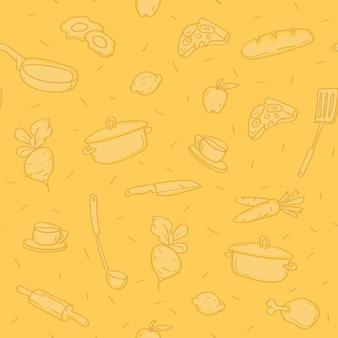 Pattern di sfondo vari oggetti da cucina. modello. scarabocchio di schizzo.