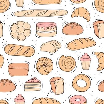 Un modello di prodotti da forno disegnati nello stile del doodle. pane bianco e nero, torta, monchik, croissant. illustrazione vettoriale su sfondo bianco.