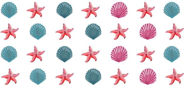 Modello di conchiglie blu e rosa e tema di fauna marina stella marina