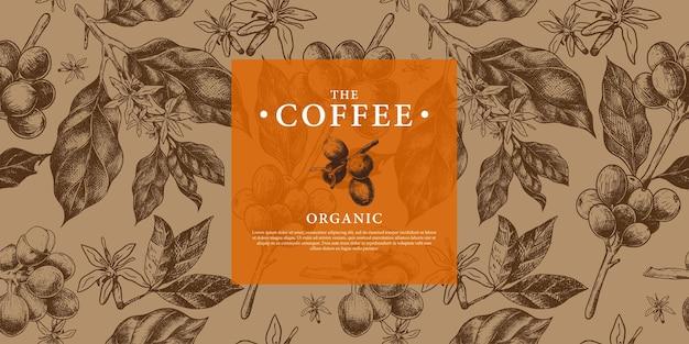 Modello ramo di caffè, fagioli e fiore in mano modello di stile di disegno per il confezionamento della copertina di sfondo caffè di marca