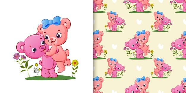 Senza cuciture di un orso di coppia con ornamento di fiori