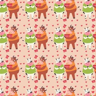 Le coppie del modello nell'amore toro e mucca danno i regali. carta digitale di san valentino con simpatici animali. confezione regalo ripetibile per bambini per gli innamorati. stampa festiva vettoriale su sfondo beige