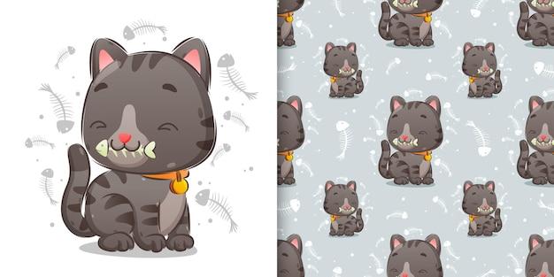 Il modello di un simpatico gatto sta mangiando un pesce osseo con una faccia molto felice dell'illustrazione
