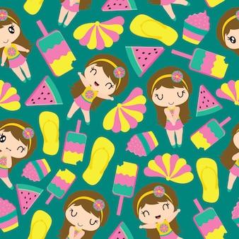 Modello di ragazza carina ed elementi di estate per la carta da parati bambino