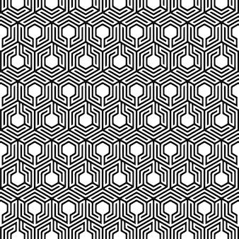 Fondo senza cuciture geometrico di esagono di progettazione del modello in bianco e nero