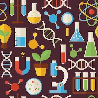 Pattern education science e oggetti di ricerca su marrone scuro. fondo senza cuciture di struttura di vettore di stile piano. raccolta di modelli di fisica e biologia chimica e di ricerca. di nuovo a scuola.