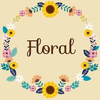 Modello di fiore sul testo di primavera.