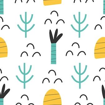 Modello - disegno di stampa senza cuciture astratto infantile disegnato a mano carta digitale illustrazione vettoriale
