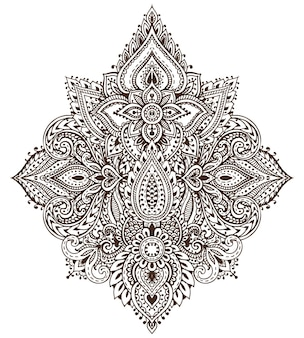 Modello di elementi floreali all'henné basati su ornamenti tradizionali asiatici.