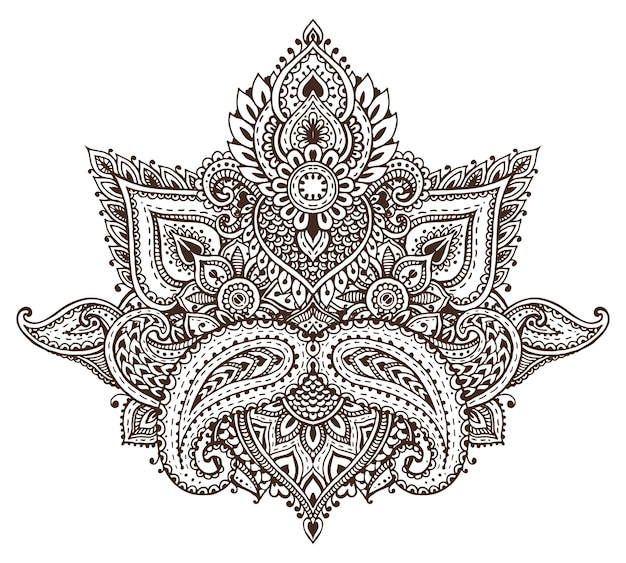 Motivo di elementi floreali all'henné basati su ornamenti tradizionali asiatici