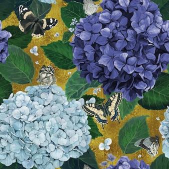 Modello di ortensie con farfalle