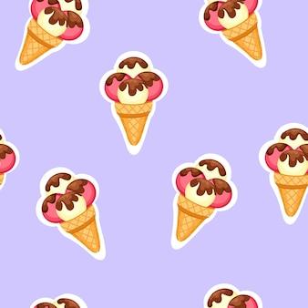Modello gelato. sfondo di texture fragola e gelato alla vaniglia dessert.