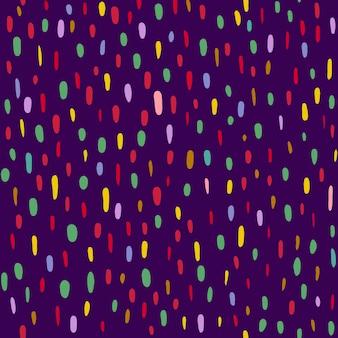 Un motivo di punti multicolori e ovali su uno sfondo viola scuro. illustrazione vettoriale
